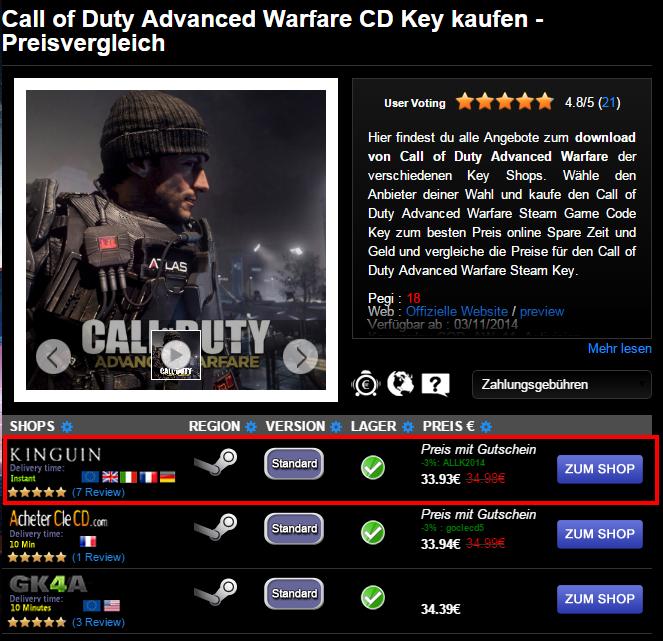 Call of Duty Advanced Warfare CD Key kaufen   Preisvergleich