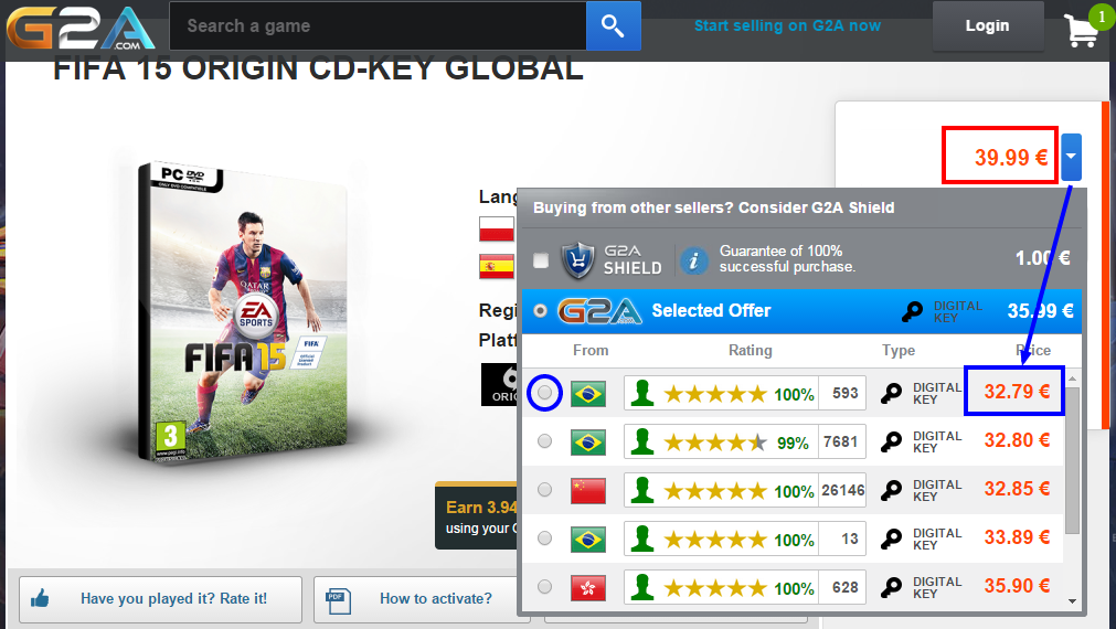 FIFA 15 ORIGIN CD KEY GLOBAL   Buy cheap   G2A.COM