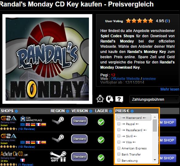 Randal s Monday CD Key kaufen   Preisvergleich