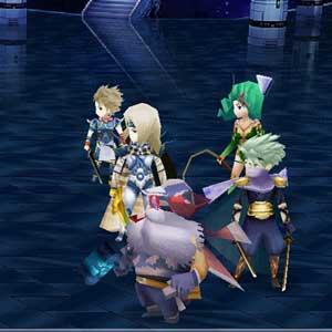 Final Fantasy Figuren im Kampf mit feindlichen