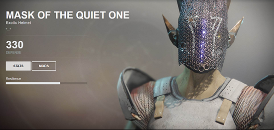 Mask of the Quiet One (Exotic Warlock Chest Armor)