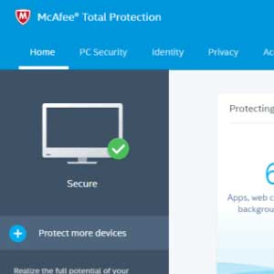 McAfee Internet Security 2019 dashboard