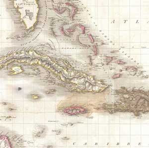 Naval Action Pinkerton Karte von Westindien