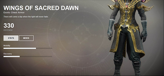 Wings of Sacred Dawn (Exotic Warlock Chest Armor)