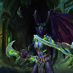 Eine weibliche Nachtelf Dämonenjäger